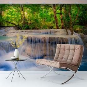 Murales de vinyle cascades dans la forêt