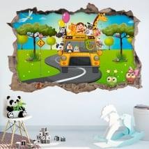 Vinyles 3d les enfants bus animaux de zoo