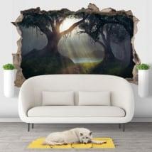 Autocollants décoratifs 3d illustration des arbres forêt magique