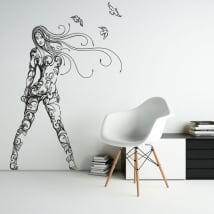 Vinyle décoratif et des autocollants silhouette femme aux oiseaux