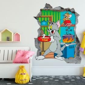 Vinyle décoratif 3d chat et souris tom et jerry