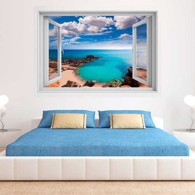 Vinyle des fenêtres plage es caló formentera îles baléares 3d