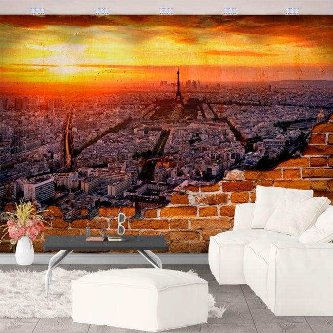Papiers peints ville de paris effet de mur brisé