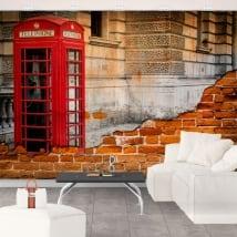 Murales l'angleterre cabine téléphonique londres effet de mur brisé