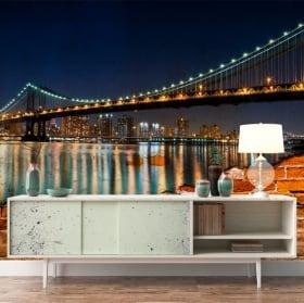 Murales de vinyle pont de brooklyn effet mur brisé