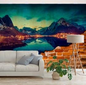 Papiers peints reine islands norvège effet mur brisé