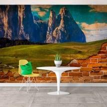 Murales de vinyle montagnes déchiquetées effet de mur brisé
