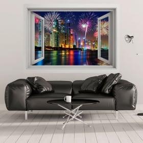 Stickers muraux fenêtre Dubaï marine 3D