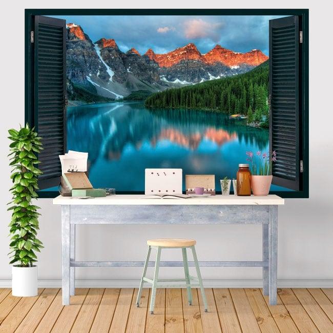 Vinyle décoratif des fenêtres lac moraine canada 3d