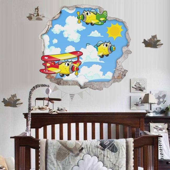 Vinyle décoratif pour enfants avions 3d