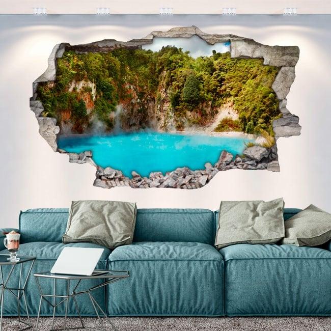 Vinyle les murs lac cratère de l'enfer nouvelle zélande 3d