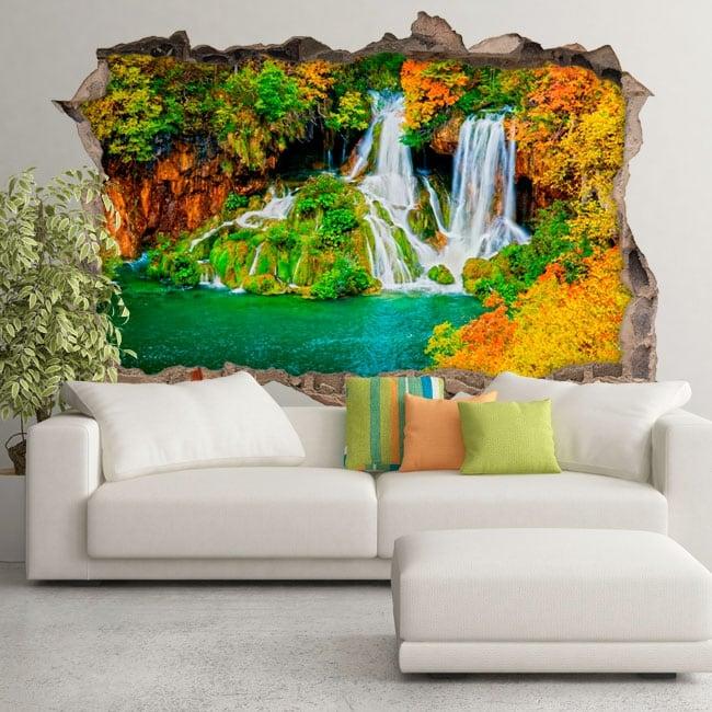 Vinyle les murs cascade de forêt en automne 3d
