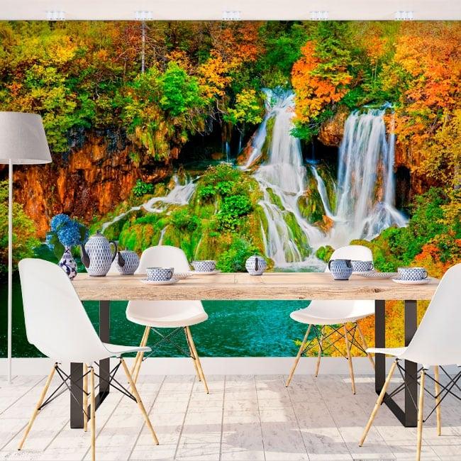 Peintures les murs cascade de forêt en automne
