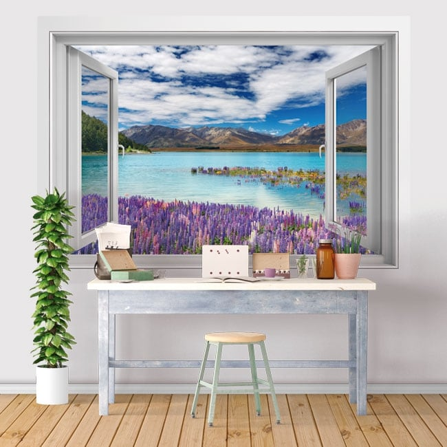 Vinyle des fenêtres lac tekapo nouvelle-zélande 3d