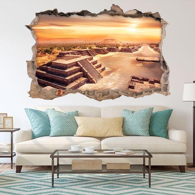 Vinyle décoratif mexique teotihuacan 3d