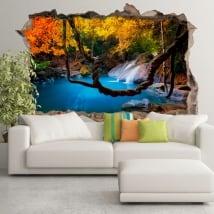 Vinyle décoratif cascade forêts d'asie 3d