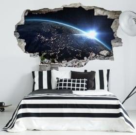 Vinyle décoratif planète terre et soleil 3D