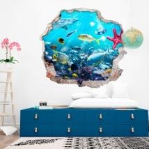 Stickers décoratifs poisson et étoile de mer 3d