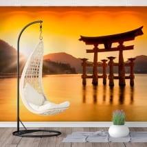 Murales le japon torii flottant sanctuaire itsukushima