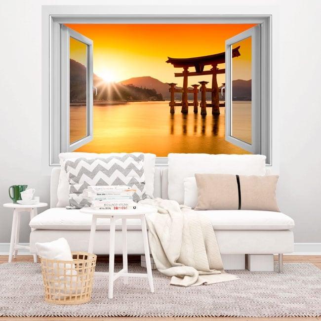 Vinyles japan torii sanctuaire flottant itsukushima 3d