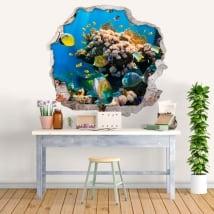 Vinyle et des autocollants poisson dans la mer 3d