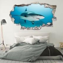 Vinyle décoratif pour les murs requin 3d