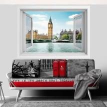 Vinyle fenêtre big ben londres 3d