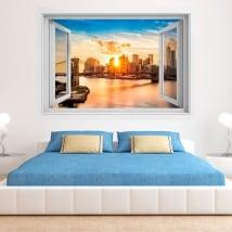 Vinyle coucher du soleil manhattan et pont de brooklyn 3d