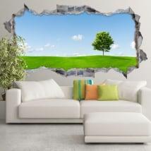 Vinyle décoratif arbre dans la prairie 3d