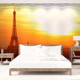 Murales de vinyle coucher de soleil à paris tour eiffel