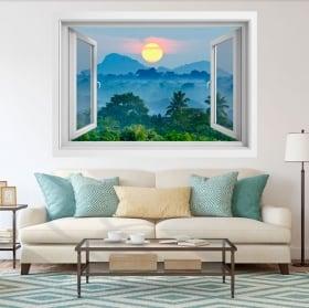 Vinyle des fenêtres coucher de soleil nature sri lanka 3d