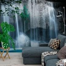 Murales de vinyle chutes d'eau erawan thailande