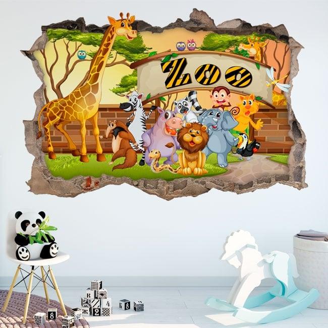 Vinyle décoratif zoo pour enfants 3d