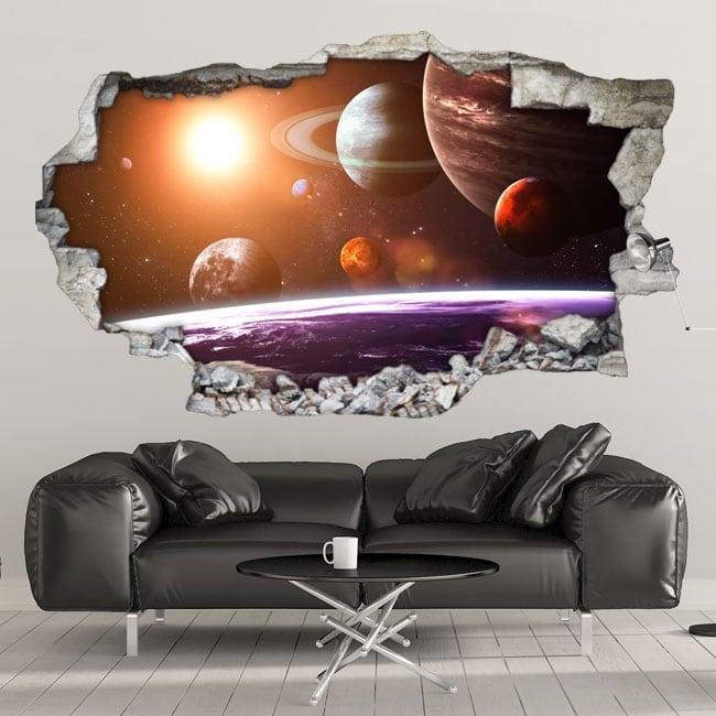 Vinyle décoratif murs système solaire 3d