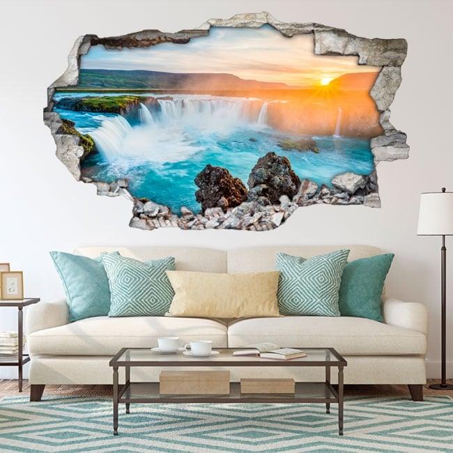 Vinyle décoratif crépuscule chutes d'eau godafoss islande 3d