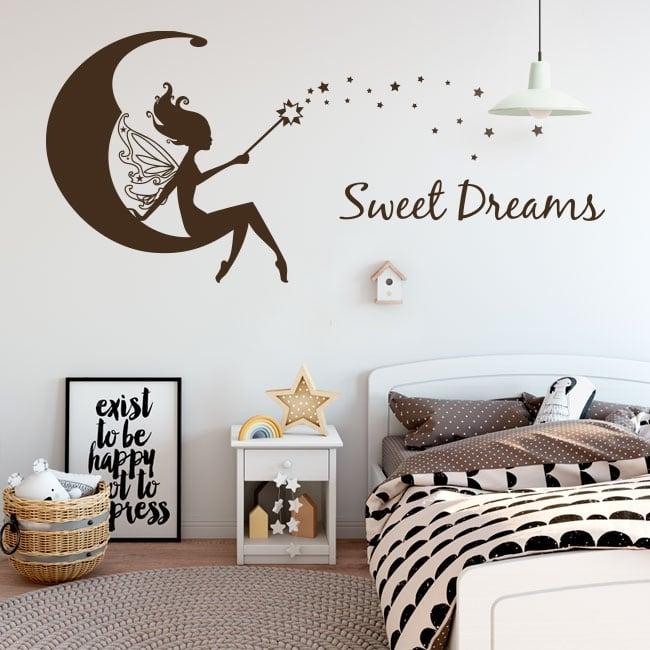 Vinyle décoratif fée sur la lune fait de beaux rêves