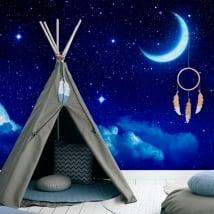 Murales de vinyle lune et étoiles