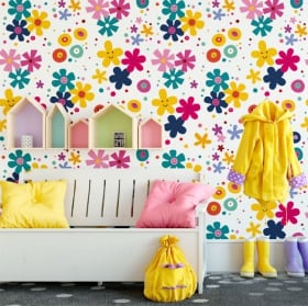Murales de vinyle fleurs de visage heureux