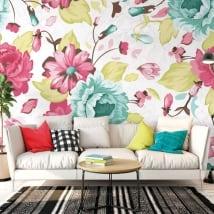 Murales de vinyle avec des fleurs pour décorer