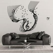 Vinyle décoratif pentagramme notes de musique
