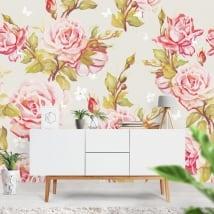 Murales adhésives avec des fleurs pour décorer