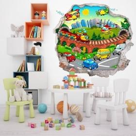 Vinyle décoratif ville d'enfant 3d