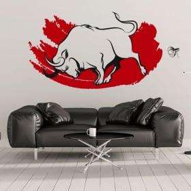 Vinyle décoratif et des autocollants taureau rouge