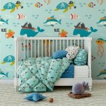 Murales vinyle pour enfants monde marin