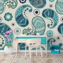 Murales de vinyle des fleurs cachemire ou paisley