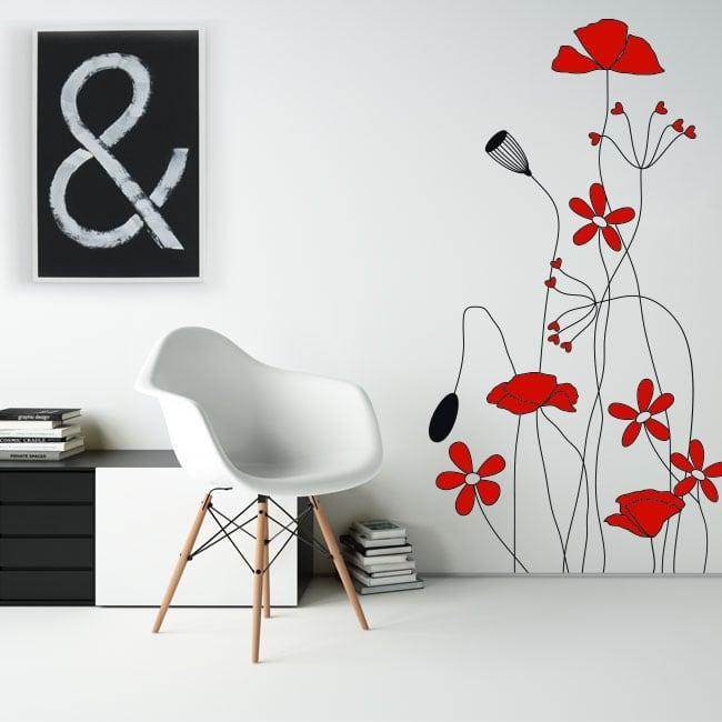 Vinyle décoratif et des autocollants fleurs rouges