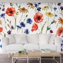 Peintures murales de vinyle avec des fleurs pour décorer