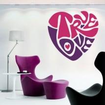 Autocollants et vinyls décoratifs coeur true love
