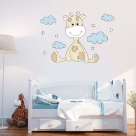 Vinyle pour bébé girafe nuages et étoiles