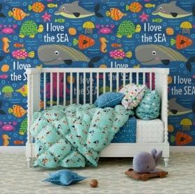 Murales de vinyle pour enfants monde marin